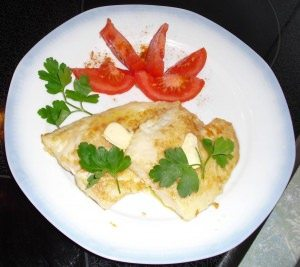 Pangasius fillet with garlic