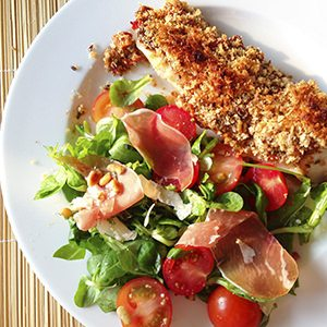 Pangasius with a Delightful Crust & Italian Salad