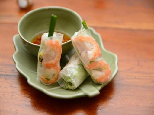 Vietnamese fresh spring rolls with prawns steamed fish-and-rice noodles.