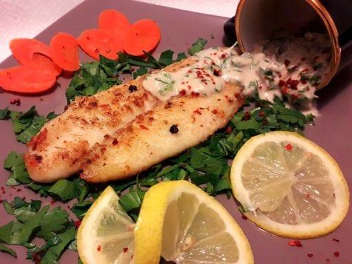 recipe for panga fish with tahine saus